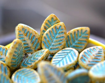 NEW! Ivory Leaves - Premium Czech Glass Beads, Opaque Ivory, Picasso Finish, Turquoise Wash, Leaves 16x12mm - Pc 4