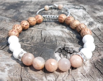 Peach Moonstone and Faceted Shell Wrist Mala with Palmwood