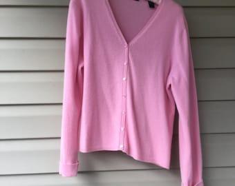 Cashmere cardigan, Vintage Cashmere, Size XL, 2ply Cashmere,