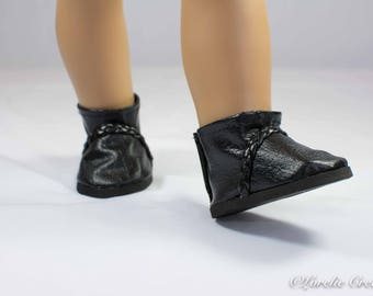 "Doll Ankle BOOTS in Short Length in BLACK Faux LEATHER with Braided Faux Leather Trim for American Girl or 18 "" Doll"