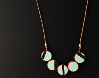 Mint Green Red Black Necklace/ Polymer Clay Minimal Necklace/ Mint Green Minimal Necklace/ Color Block Necklace/ Disc Bead Long Necklace
