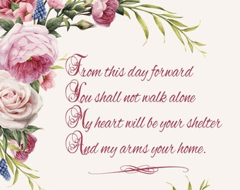 From This Day Forward Floral Wedding Sign or Home Decor