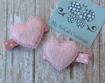 Fuzzy Heart Hair Clip Set in BABY PINK-Valentines Day Clips Set-HEARTS-Love-No Slip