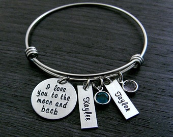I love you to the moon and back  / Wire Bangle Bracelet / Mom / Grandmother / Nana / Mimi / Personalized / Hand Stamped / Charm Bracelet