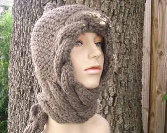 Taupe Knit Hat Taupe Womens Hat - Taupe Cable Scarf Hat - Taupe Hat Taupe Scarf Taupe Hooded Scarf Knit Hat - Womens Accessories