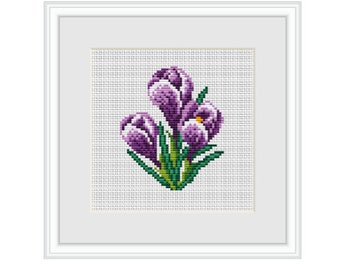 Crocuses  Cross Stitch Pattern. Instant Download. Beginner Counted Cross Stitch Pattern. Nature. PDF. Flowers Decor Pattern. DIY Pattern