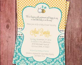 Sweet Honey Bee Baby Shower Invite - Printable
