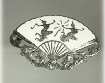 Siam Sterling White Fan Brooch, Dancing Goddess, Mekhala and Ramasoon, Thailand, Summer Jewelry
