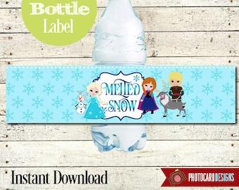 FROZEN Water Bottle Label File   PDF   INSTANT Download   Elsa   Anna   Olaf   Princess   Digital
