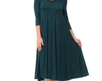A-Line Trapeze Midi Dress Hunter Green
