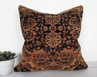Black Southwestern Pillow, Persian Pillow, Throw Pillow Covers, Pillow Case, Textured, Brown Rust, Black Tan Blue, Lumbar, 18x18, 20x20