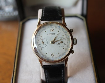 Vintage Fluvius Boillat FLUDO CHRONOGRAPH WATCH in Rose Gold Case and black leather Halston strap