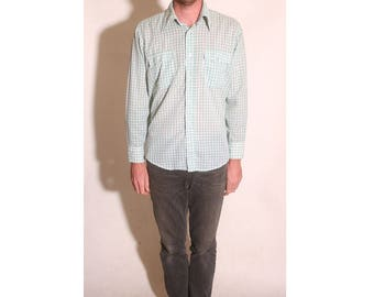 Vintage 1980s Green and White Plaid Mens Levis Button Up Double Pocket Western Shirt size L