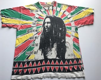 1990s BOB MARLEY All Over Print Distressed Oversized Vintage T Shirt // Size Xlarge