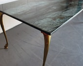 Vintage Hollwood Regency Brass and marble coffee table