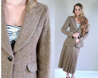 vtg 70s light brown TWEED secretary WOOL SUIT Sm/Med pleated jacket high waist skirt matching set work outfit