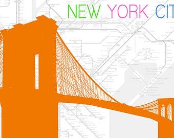 New York City, NY - Neon Brooklyn Bridge (Art Prints available in multiple sizes)