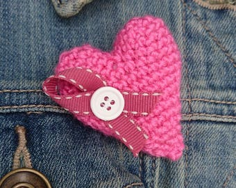 Beautiful handmade crochet heart brooch with ribbon and button detail