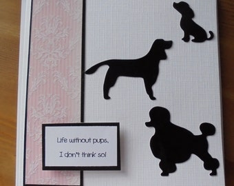 Dog silhouette card. Dogs card. French poodle card. German pointer card. Puppy dog card. Poodle silhouette. Pointer silhouette.