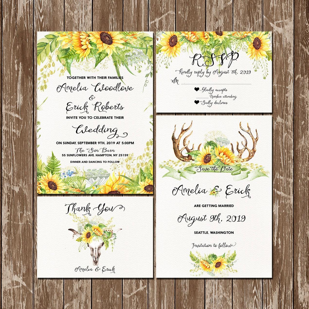 Sunflower and wild herbs Wedding Invitation Set Rustic