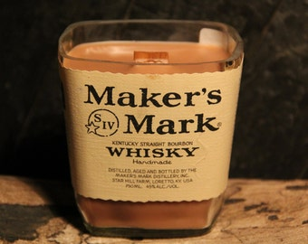 Upcycled Maker's Mark Whisky Candle  Recycled Bourbon Bottle Candle Handmade Wood Wick Soy Candle 1L  Glass Bottle / Father's Day Gift