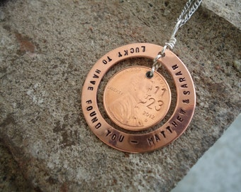 Lucky to have found you - Penny Necklace with Names and Date
