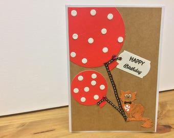 Cat and balloon Birthday card