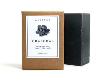 C H A R C O A L - Tea Tree and Patchouli Oils Scented, Handmade Soap, Face & Body Soap, Natural Vegan Soap, Olive Oil Soap