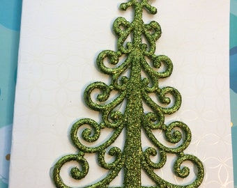 Green Glitter Christmas Tree Christmas Card