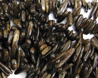 "12-24mm natural bronzite stick tooth beads 15"" strand 15000"