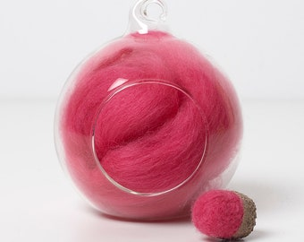 Merino Felting Wool- Wool Roving-Wool Tops -Colour Pink 05 -10grams