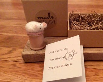 Needle felt mouse on a vintage cotton reel. This miniature mouse is made from Merino wool and comes in a gift box with a tiny card