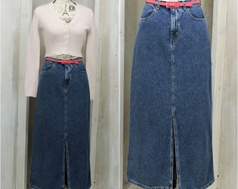90s Long denim skirt / maxi skirt / size S 4 / 5 / High Waisted /  jean skirt / Eddie Bauer / Boho / Hippie