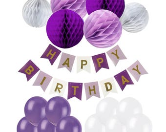 Purple Series Happy Birthday Bunting Banner with 20 Pieces Latex Party Balloons and 6 Pieces Honeycomb Balls for Birthday Party Decorations
