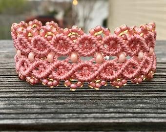 Micro-Macrame Cuff Bracelet. Modern Macrame. Rose Pink Beaded Bracelet. Pink Beaded Cuff. Statement Jewelry. Boutique Fashion Piece.