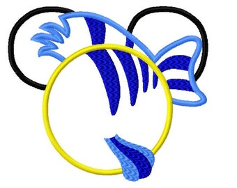 Character Inspired Mouse Mermaid Fish Friend Flounder Embroidery Applique Design