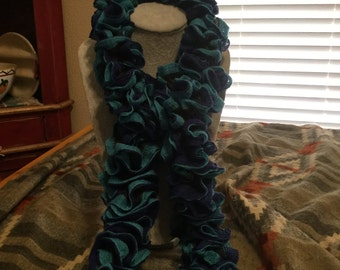 Turquoise and Navy Blue Spiral Scarf