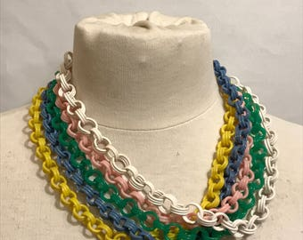 Vintage 1950's Celluloid Link Chain Necklace 5 colours