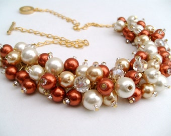 Fall Wedding Jewelry, Chunky Pearl Beaded Necklace, Burnt Orange Ivory and Gold, Bridal Jewelry, Bridesmaids Jewelry, Cluster Necklaces