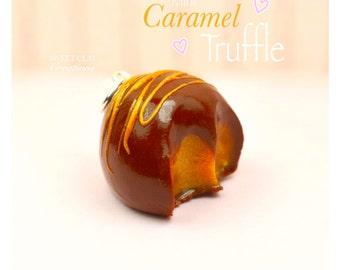 Caramel Truffle Charm Pendant Miniature Food Jewelry Polymer Clay Handmade Jewelry Gift Girl Necklace