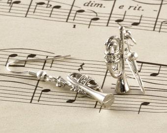 Silver Trumpet Earrings - Trumpet Gift - Music Earrings - Cornet Jewellery