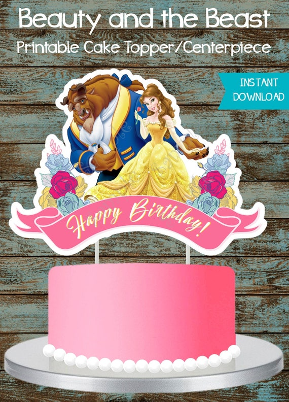 Beauty and Beast Cake Topper Belle Cake Topper Printable