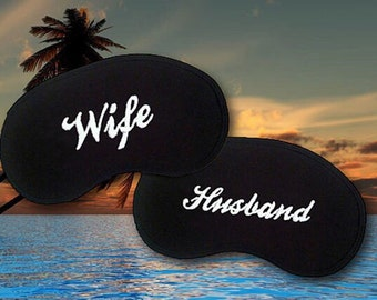 Husband and Wife Custom Made Embroidered Eye Masks - SALE  - favorite on pinterest tumblr instagram polyvore