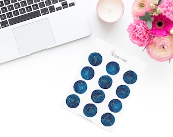 Blue Starsign Stickerset-Watercolour sticker-Pretty planning-scrapbooking-bullet journaling