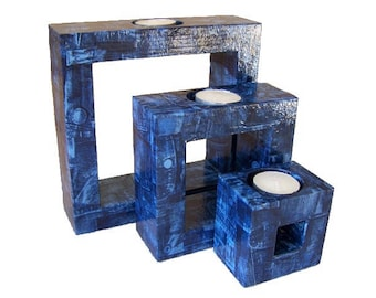 "Set of 3 candle holders ""jeans"""