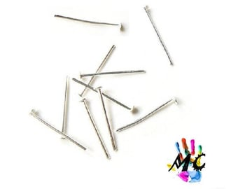 20 flat head pins, silver metal: 2,2 cm