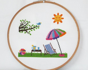 Summer Cross Stitch Pattern-sun, sunshade, deck chair, table with drink, tree with bird, PDF, instant download
