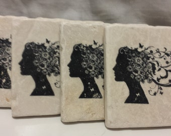 Lady With Butterfly Hair Coasters (set of 4)