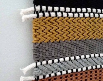 Woven Wall Hanging, Long Wall Weaving, Colorful Large Weaving, Large Wall Hanging, Woven Tapestry, Boho Decor, Tissage, Rope Art