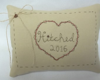 Hitched Personalized Embroidered Mini Pillow Wedding Or Anniversary